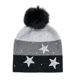 Mitchie's matchings Sparkle Stars Beanie with Fox Pom Pom - Colors Choice
