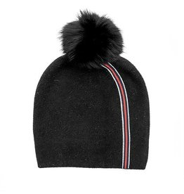 Mitchie's matchings Stripe Knit Beanie with Fox Pom Pom - Color Choices