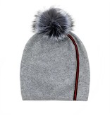 Mitchie's matchings Tuque en tricot à rayure avec pompon en fourrure de renard