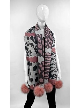 Mitchie's matchings Leopard style carf with pompoms fox - Choice of colors