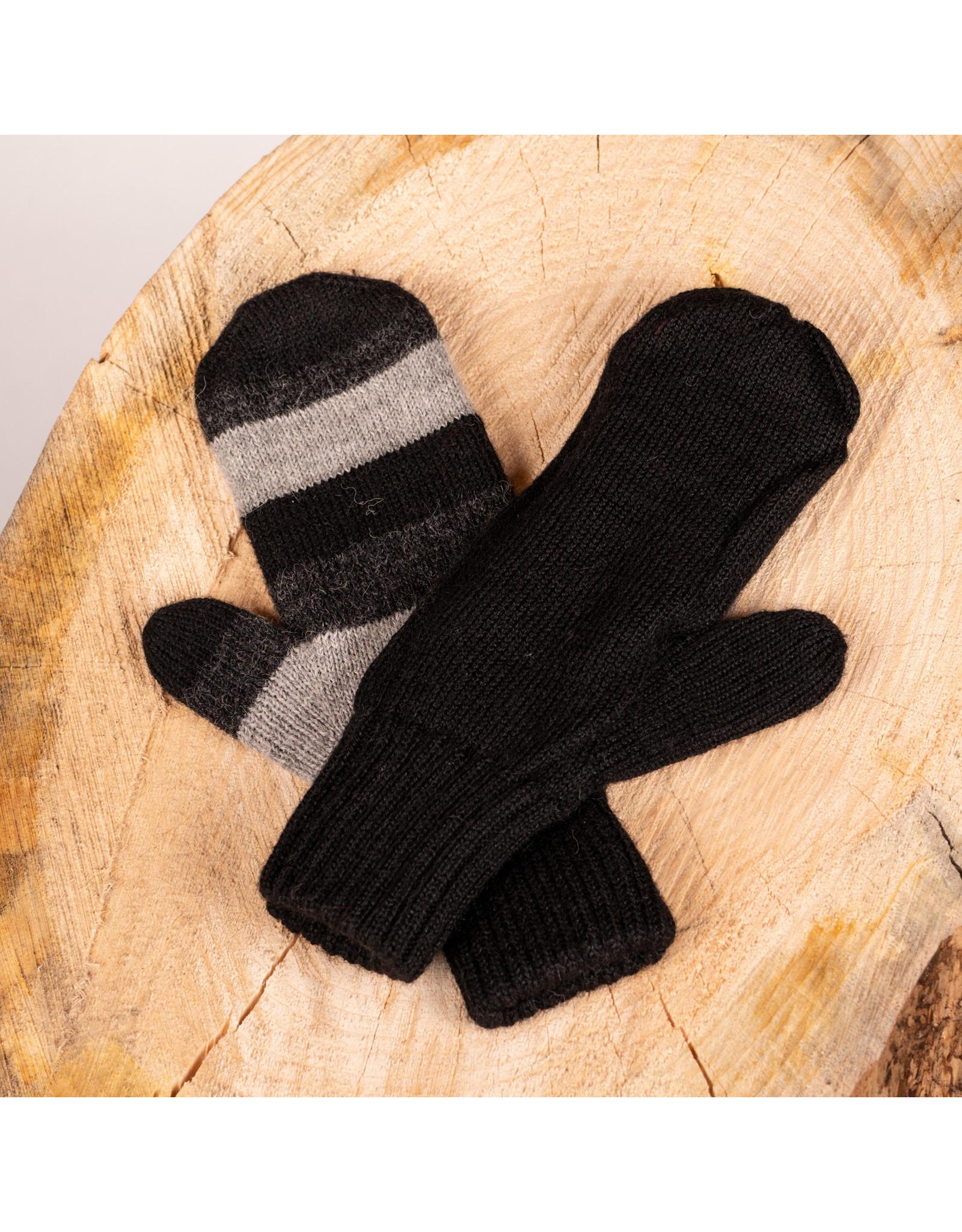 Alpaca DNA Double and reversible Black Distinction mittens 100% Alpaca wool