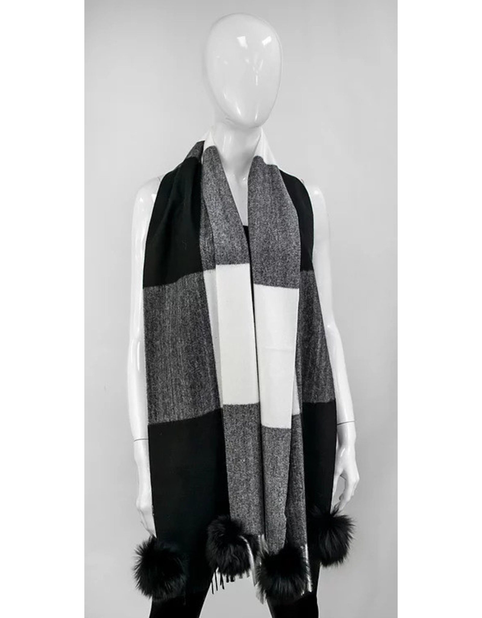 Mitchie's matchings Soft checkered scarf with pompoms fur fox - Choice of colors
