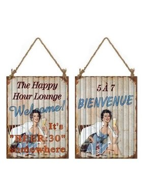 Happy hour lounge metal sign
