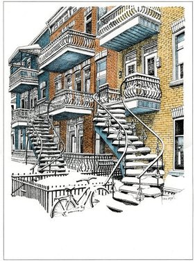 Montreal Stairs  L3XC 15 1/2 x 12