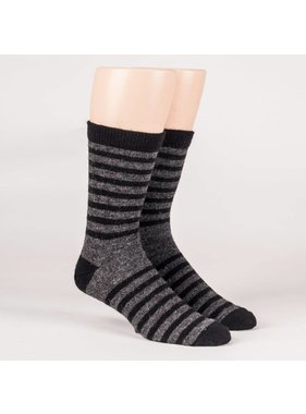 Alpaca DNA Unisex Dress striped socks - 70% Alpaca black