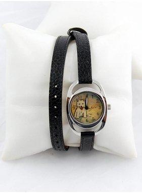 Diane Balit F Little dog - Double bracelet, stainless steel case
