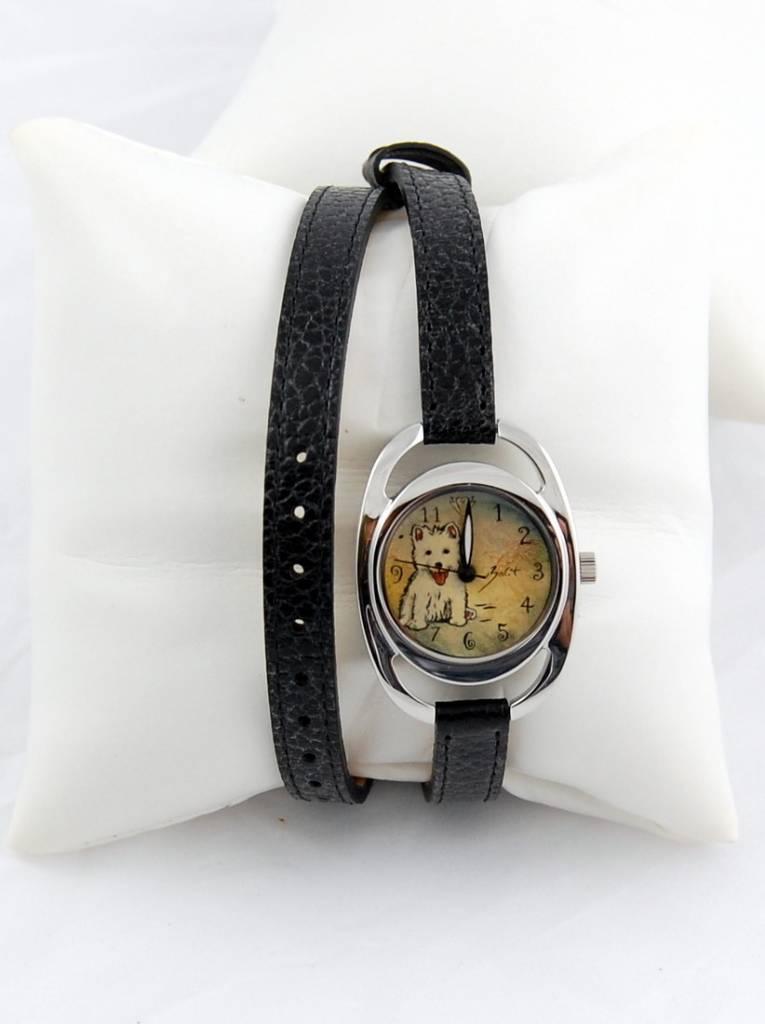 Diane Balit Little dog - Double bracelet, stainless steel case