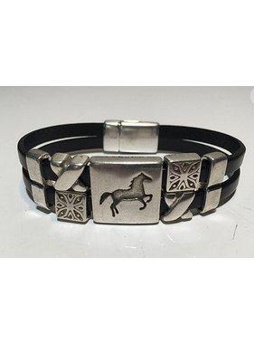 Bracelet cheval en cuir double 5mm double - Homme