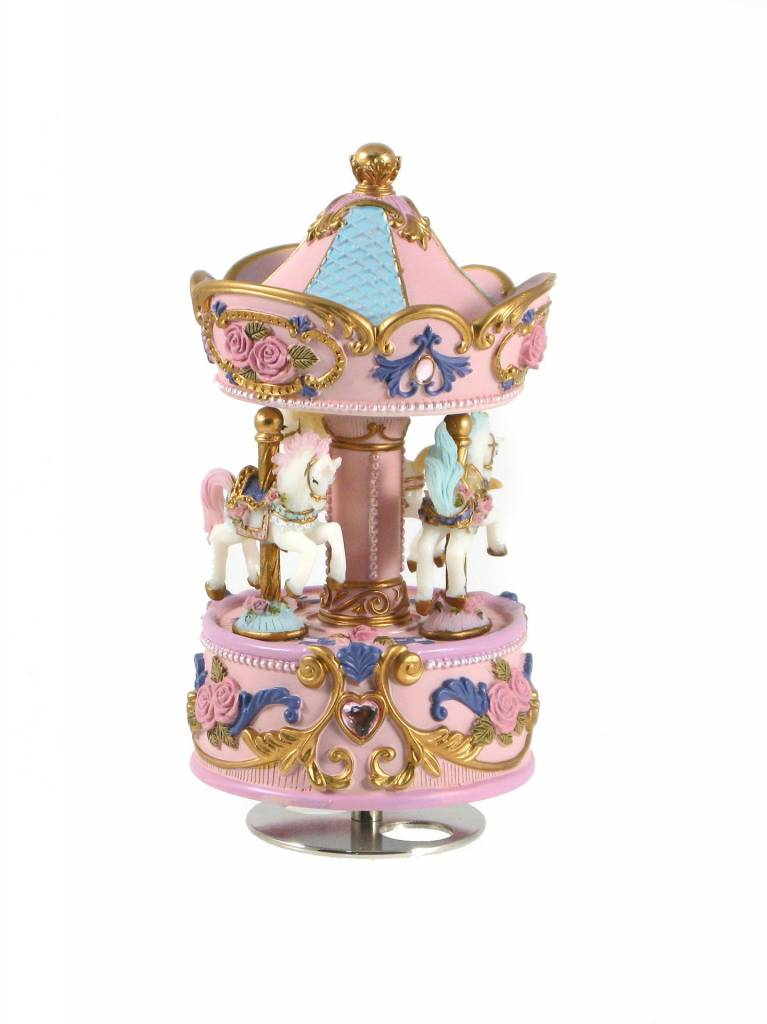 Carousel music box of 3 horses