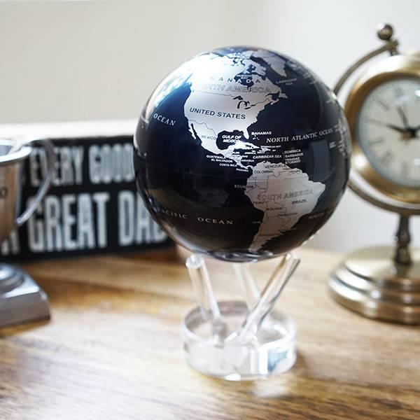 "Black Silver Globe 4.5"""