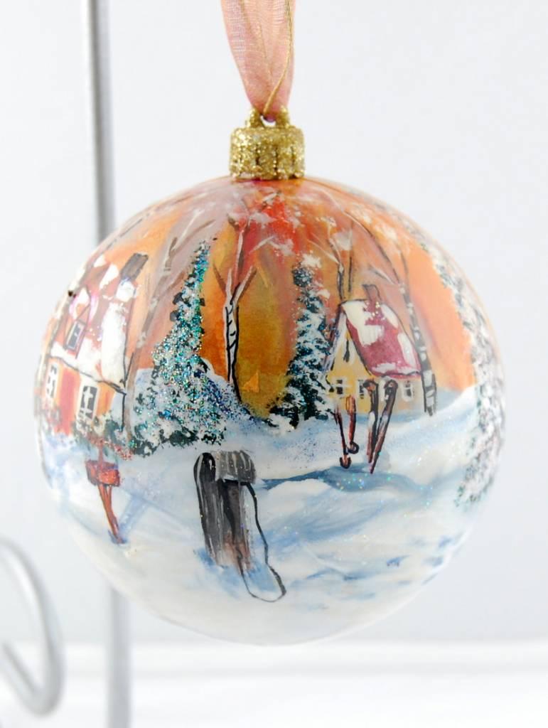Ghislaine Bergeron Boule Noel peinte à la main #81