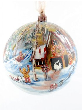 Ghislaine Bergeron Boule Noel peinte à la main #94