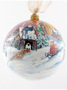 Ghislaine Bergeron Boule Noel peinte à la main #98