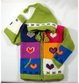 Alpaca TC Veste Coeur tricotée à la main - Lime
