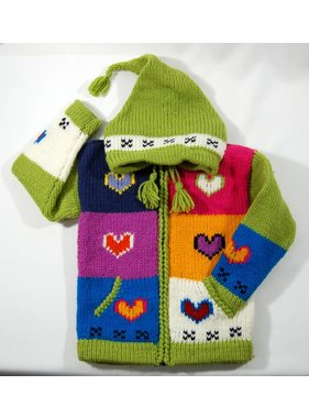 Alpaca TC 1 Veste Coeur tricotée à la main - Lime