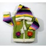 Alpaca TC Veste Fleur tricotée à la main - Lime
