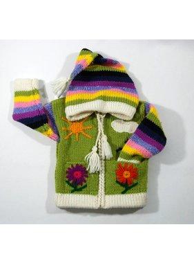 Alpaca TC 1 Veste Fleur tricotée à la main - Lime