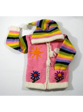 Alpaca TC Hand-knitted jacket - Pink