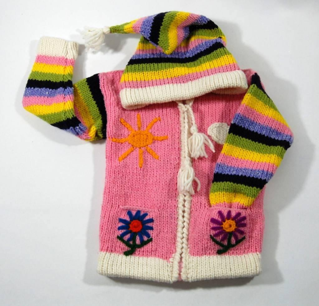 Alpaca TC Veste Fleur tricotée à la main - Rose