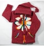 Alpaca TC Veste tricotée à la main - Rouge