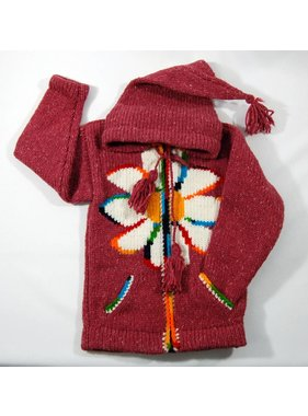 Alpaca TC Hand Knitted Jacket - Red