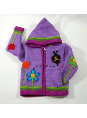 Alpaca TC Hand-knitted jacket - Purple Garden
