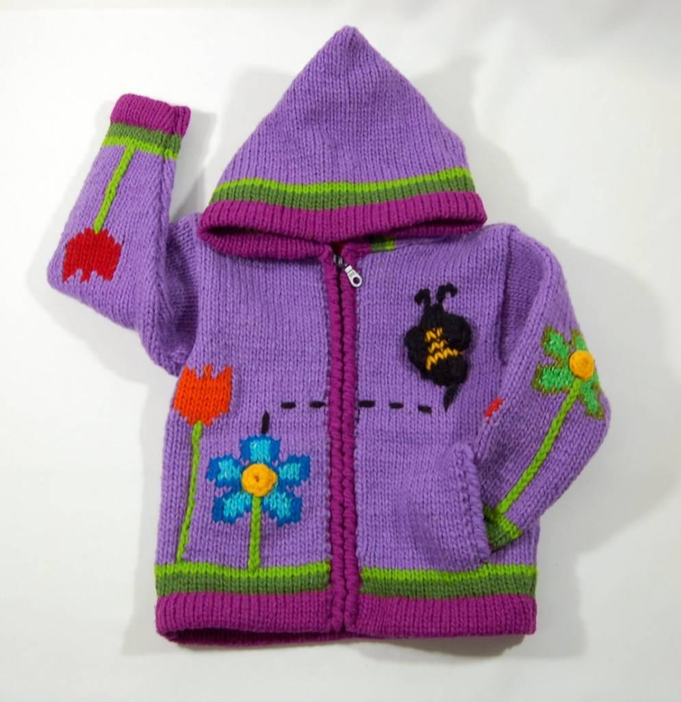 Alpaca TC Veste tricotée à la main - Jardins mauve