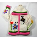 Alpaca TC Veste tricotée à la main - Jardins blanc