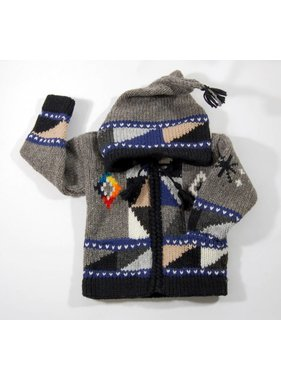 Alpaca TC Hand-knitted jacket - Grey