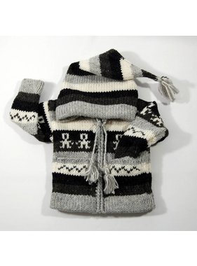 Alpaca TC Hand-knit striped jacket - Gray and black