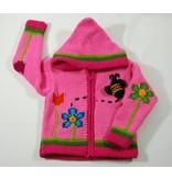 Alpaca TC Veste tricotée à la main - Jardins rose