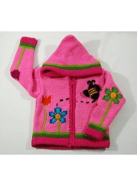 Alpaca TC Hand-knitted jacket - Pink Garden