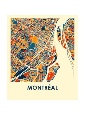 Montreal Map Print color 11x14