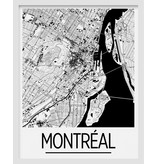 Montreal Map Print  11x14 - Black and White