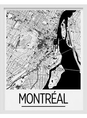 Carte de Montréal 8 x 10 - Noir et blanc