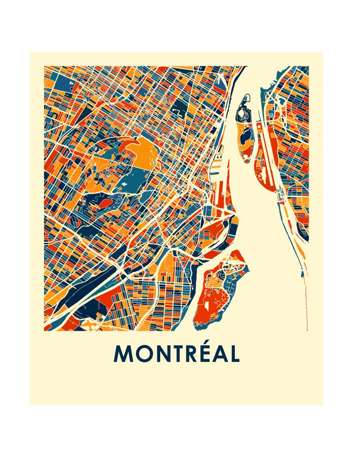 Montreal Map Print 8 x10