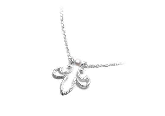 Chic Fleur de lis sterling silver Pearl