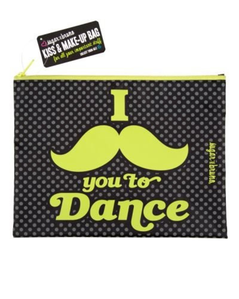 Sugar and Bruno I Mustache You Kiss & Make-Up Bag