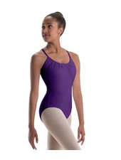 Motionwear Pleated-Front Open-Back Camisole Leotard