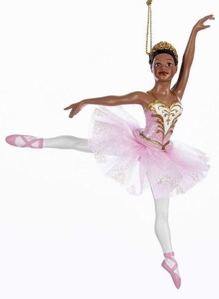 "6.25"" African American Ballerina en Arabesque Ornament"