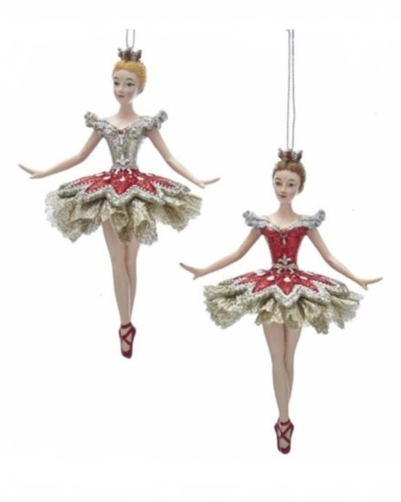 "6"" Ruby & Platinum Ballerina Ornament"