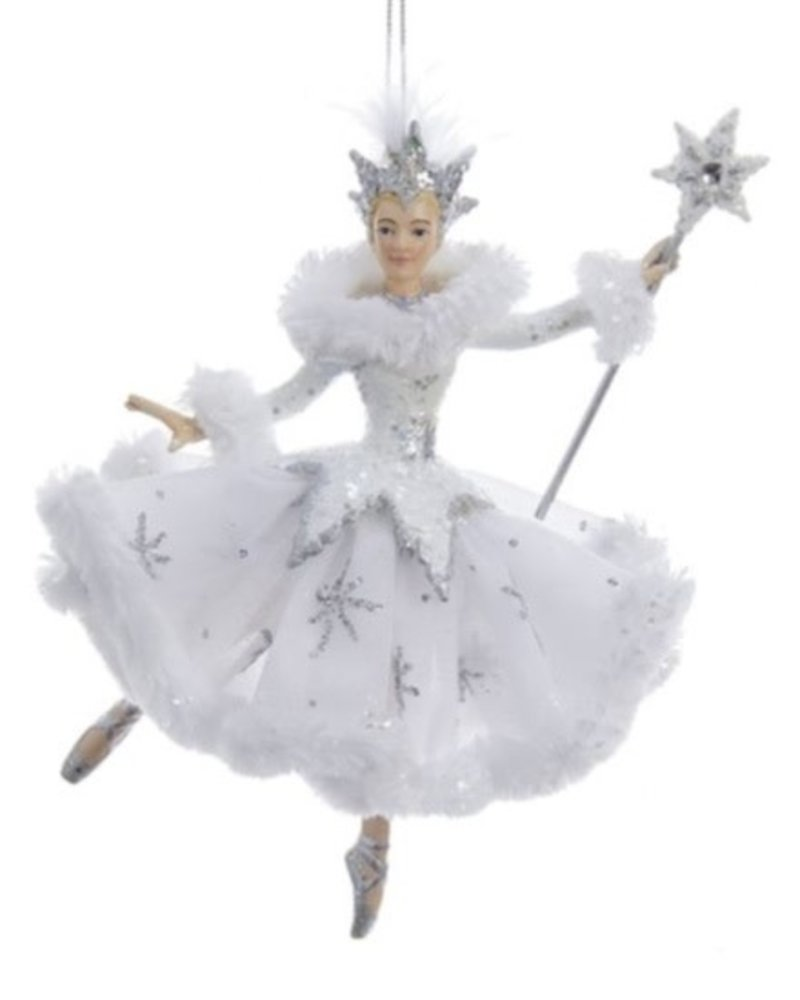 """6.75"""" White & Silver Snow Queen with Wand Ornament"""