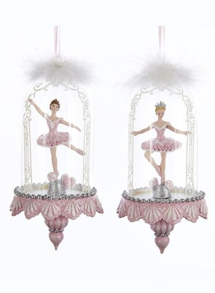 "6.25"" Glass Dome with Pink Ballerina Ornament"