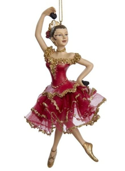 "6.75"" Red & Gold Spanish Dancer Ornament"