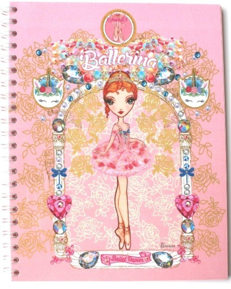 Ballet Papier Pink & Gold Ballerina in Archway Spiral Notebook