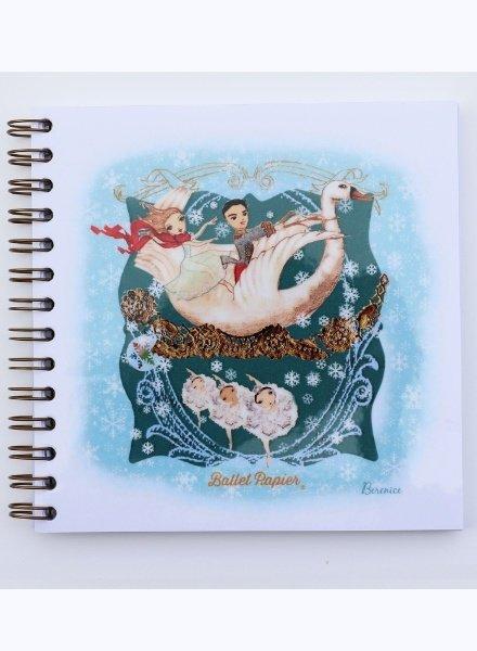 Ballet Papier Nutcracker Ballet Clara, the Prince, & Snowflakes Square Spiral Notebook