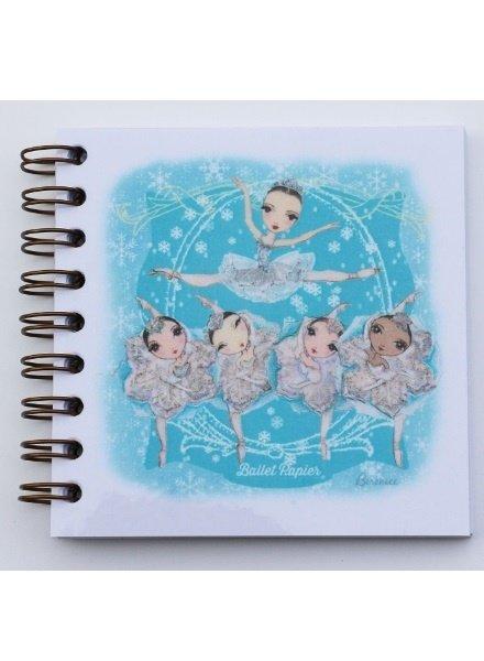 Ballet Papier Nutcracker Ballet Snow Queen & Snowflakes Square Spiral Notebook