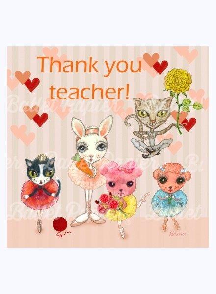 Ballet Papier Thank You, Teacher!  Ballet Pets Card