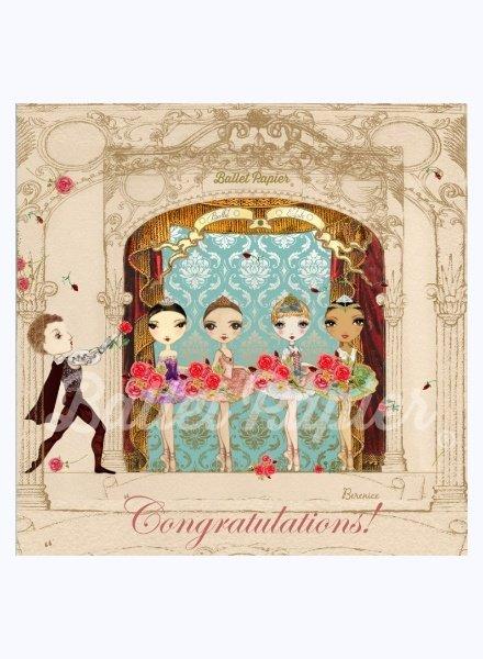 Ballet Papier Congratulations!  Ballerinas & Cavalier Curtain Call Card
