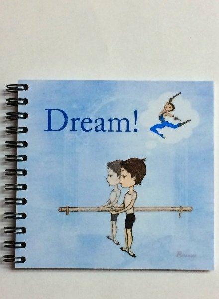 "Ballet Papier Ballet Boys ""Dream!"" Square Spiral Notebook"